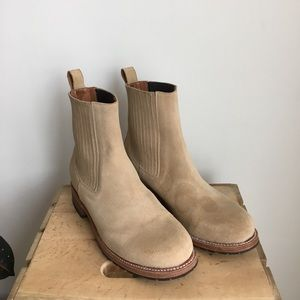 Camel suede Chelsea boots